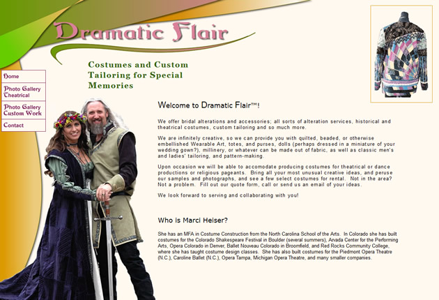 Dramatic Flair Costumes, designed and developed by Sites and Beyond, Louisville, Boulder, Erie, Colorado