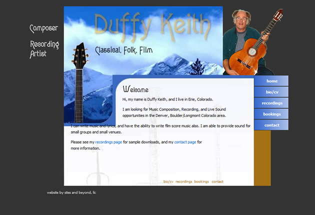Duffy Keith, Musician, designed and developed by Sites and Beyond, Superior, Louisville, Boulder, Colorado