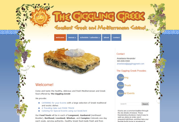 The Giggling Greek Catering and Food Truck, content management system designed and developed by Sites and Beyond, Louisville, Boulder, Superior, Colorado