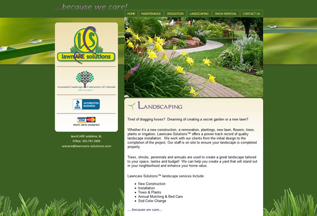 Lawn Care Solutions, designed and developed by Sites and Beyond, Louisville, Boulder, Erie, Colorado