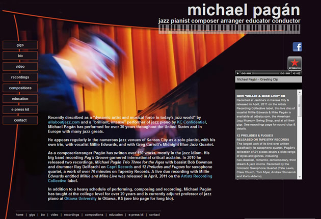 Michael Pagán, Jazz Pianist, designed and developed by Sites and Beyond, Louisville, Boulder, Erie, Colorado