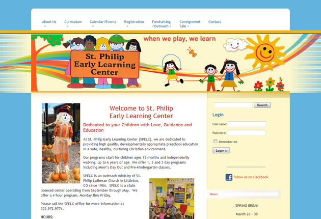 St. Philip Early Learning Center, content management system designed and developed by Sites and Beyond, Longmont, Louisville, Boulder, Colorado